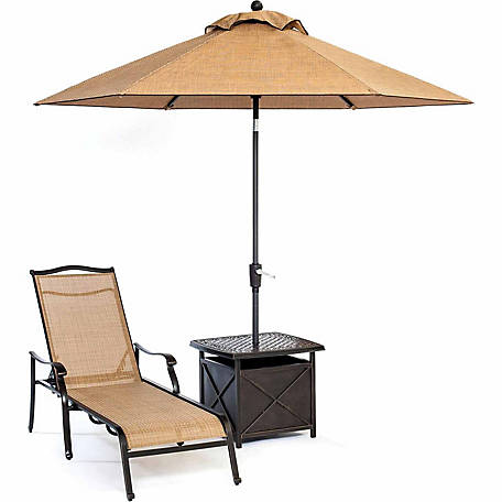 Hanover Monaco Chaise Lounge Chair with 11 ft. Umbrella & Side Table