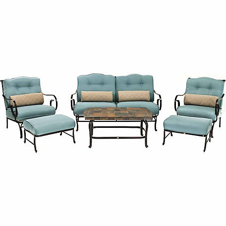 Hanover Oceana 6-Piece Patio Set, Ocean Blue with a Stone-top Coffee Table