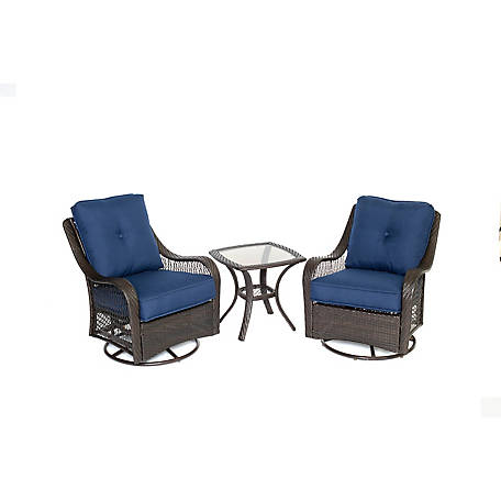 Hanover Orleans 3-Piece Swivel Rocking Chat Set