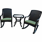 Hanover Outdoor Orleans 3-Piece Porch Rocker Set with Cushions