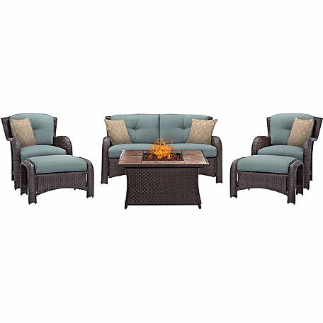 Hanover Strathmere 6-Piece Lounge Set with Tan Tile Top Fire Pit Table