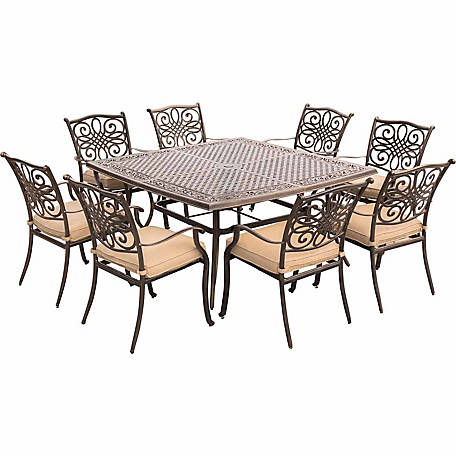 Hanover Traditions 9 Piece Square Dining Set With A Large 60 X 60 In. Cast Aluminum  Dining Table At Tractor Supply Co.