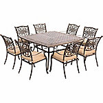Hanover Traditions 9-Piece Square Dining Set with a Large 60 x 60 in. Cast-Aluminum Dining Table