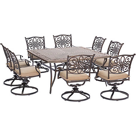 Hanover Traditions 9 Piece Outdoor Dining Set With Large 60 In Square Cast Top Dining Table Traddn9pcswsq 8 At Tractor Supply Co