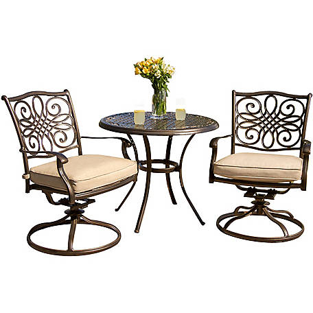 Round Table Watsonville Ca.Hanover Traditions 3 Piece Bistro Dining Set With Two Alumicast Swivel Rockers 32 In Round Table At Tractor Supply Co