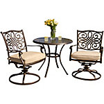 Hanover Traditions 3-Piece Bistro Dining Set with Two Alumicast Swivel Rockers & 32 in. Round Table