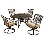 Hanover Traditions 5-Piece Dining Set with Four Swivel Rockers & 48 in. Round Table