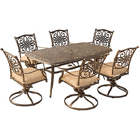 Hanover Traditions 7 Piece Outdoor Dining Set With Six Swivel Dining Chairs Large 72 X 38 In Dining Table Traditions7pcsw 6 At Tractor Supply Co