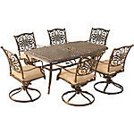 Hanover Traditions 7-Piece Dining Set with Six Swivel Dining Chairs & Large 72 x 38 in. Dining Table