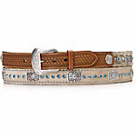 Nocona Men's Calf Hair Blue Bar Bling Belt