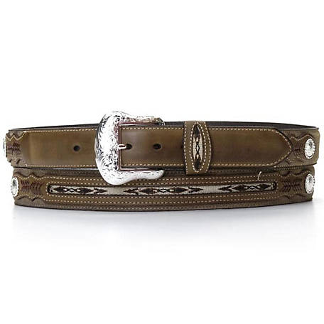 Nocona Belt Co Mens Top Hand Brown Middle Inlay