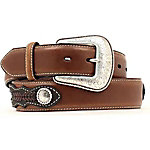 Nocona Men's Top Hand Brown Side Overlay Belt