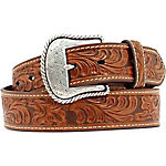 Nocona Men's Belt with Floral Emboss Western Buckle
