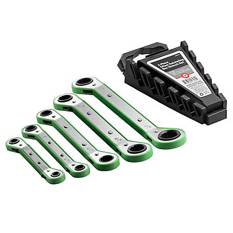 Barn Star Green Offset Ratchet Spanner Set, 5 pack, 14SP-B15