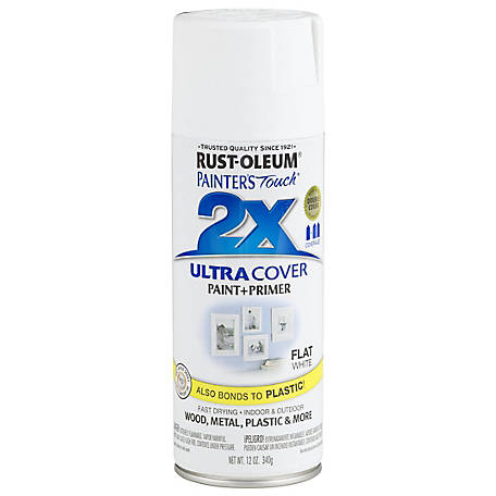 Rust-Oleum Rust-Oleum Painter's Touch 2X Ultra Cover Spray Paint, Flat, White, 12 oz., 249126