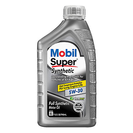 Mobil Super Synthetic Motor Oil 5W-30, 1 qt., 113938