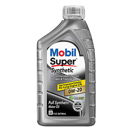 Mobil Super Synthetic Motor Oil 0W-20, 1 qt., 123085