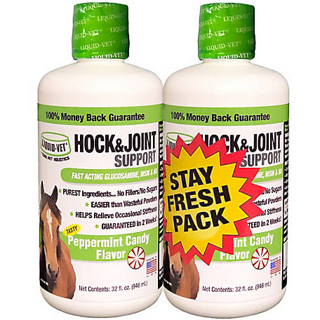 Liquid-Vet Equine Hock & Joint Support Formula, Peppermint, 32 oz. Stay Fresh 2-Pack, LVHJS-PE 32 OZ SFP-US