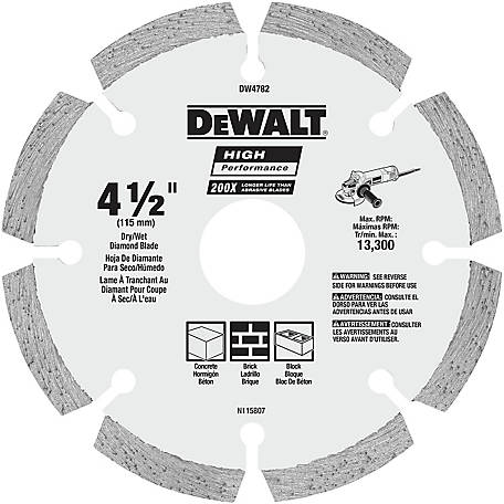 DeWALT 4-1/2 in. HP Segmented Diamond Blade, DW4782