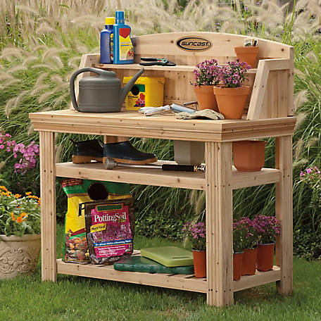Suncast Cedar Potting Table