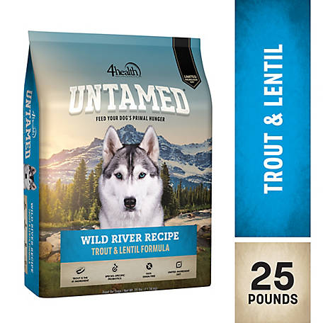 4health Untamed Wild River Recipe Trout & Lentil Formula Dog Food, 25 lb. Bag