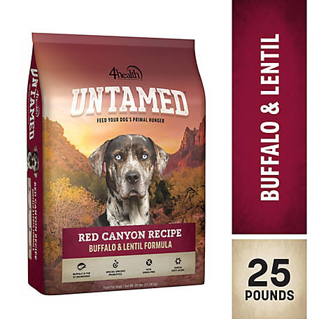 4health Untamed Red Canyon Recipe Buffalo & Lentil Formula Dog Food, 25 lb. Bag