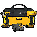 DeWALT 20V MAX Lithium-Ion Cordless Drill Driver/Impact Driver Combo Kit with Two 1.3Ah Batteries, Charger and Bag