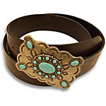 Bit & Bridle Women's Belt with Turquoise Buckle