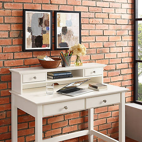 Crosley Campbell Writing Desk Hutch in White Finish, CF6510-WH