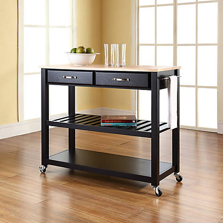 Crosley Natural Wood Top Kitchen Cart with Stool Storage, KF30051