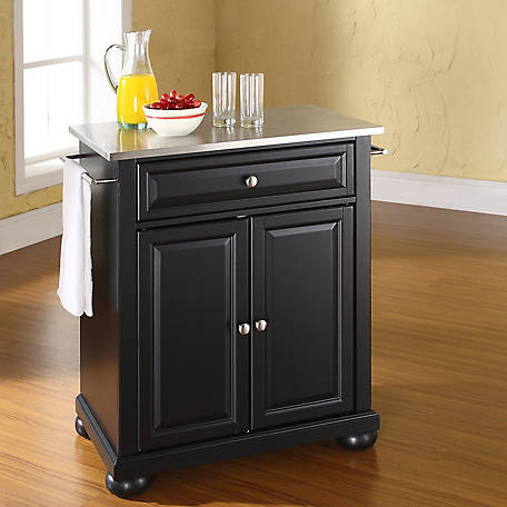 Crosley Alexandria Stainless Steel Top Rustic Bistro Table Portable Kitchen Island And Cart Kf30022abk At Tractor Supply Co