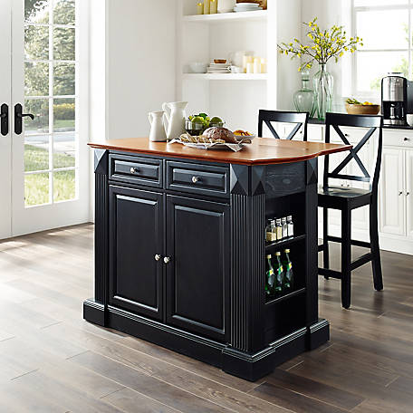 Crosley Coventry Drop Leaf Breakfast Bar Kitchen Island with 3 Stools, KF300073