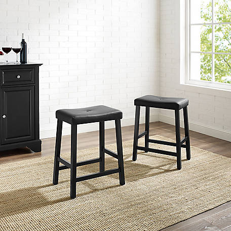 Crosley Upholster Saddle Seat Bar Stool, 24 in., Set of 2, CF500224