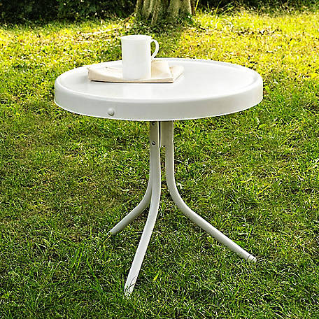 Crosley Retro Metal Side Table Alabaster White, CO1011A-WH