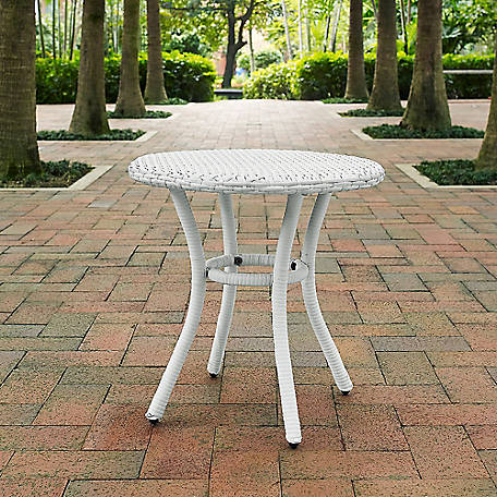 Crosley Palm Harbor Wicker Round Side Table, White, CO7217-WH