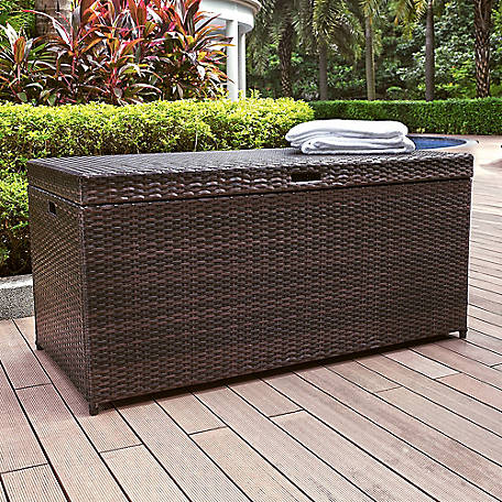 Crosley Palm Harbor Outdoor Wicker Storage Bin, CO7300-BR