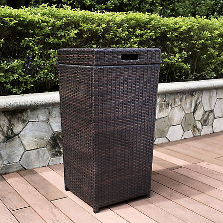 Crosley Palm Harbor Outdoor Wicker Trash Bin, CO7301-BR