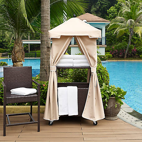 Crosley Palm Harbor Outdoor Wicker Towel Valet with Sand Cover, CO7304-BR