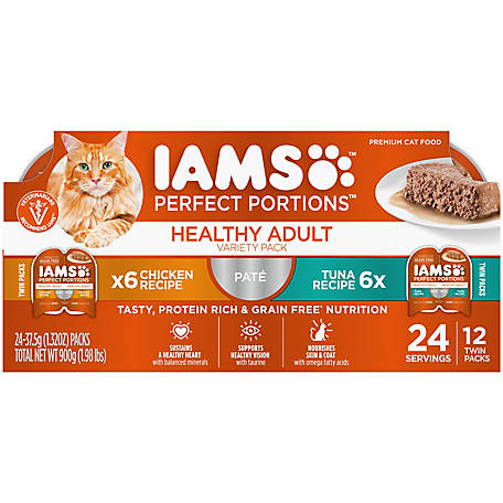 Iams PERFECT PORTIONS Grain Free Adult Wet Cat Food Pate Chicken and Tuna Recipe Variety Pack, (12) 2.6 oz. Twin-Pack Trays