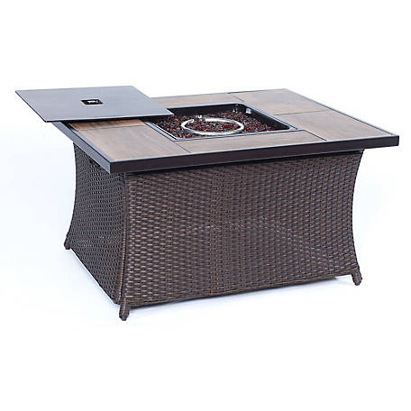 Hanover Woven 40,000 BTU Fire Pit Coffee Table with Woodgrain Tile-Top