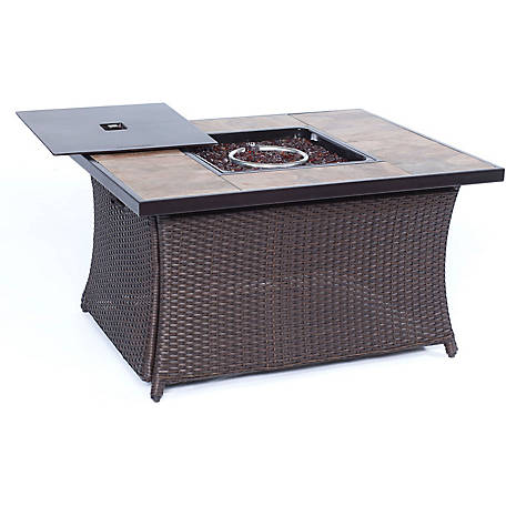 Hanover Woven 40,000 BTU Fire Pit Coffee Table with Porcelain Tile-Top