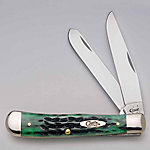 Case Cutlery Pocket Worn Trapper Knife, Bermuda Green Bone