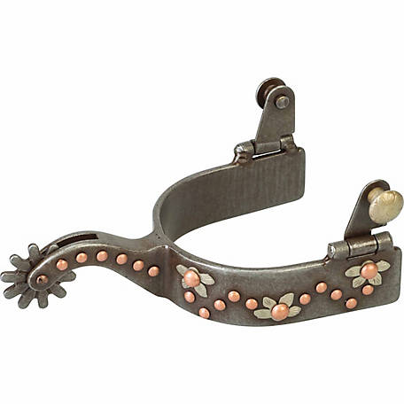Weaver Leather Men's Spur with German Silver Floral Trim and Copper Dots