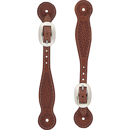 Weaver Leather Basketweave Skirting Leather Spur Straps, Thin, Oiled Chestnut