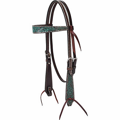 Weaver Leather Turquoise Cross Carved Turquoise Flower 5/8 in. Browband Headstall