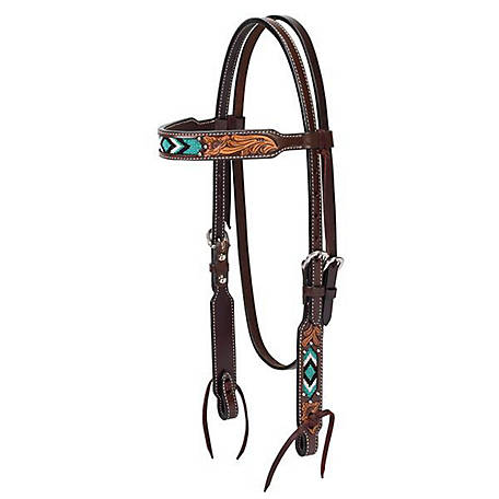 Weaver Leather Turquoise Cross Turquoise Beaded 5/8 in. Browband Headstall