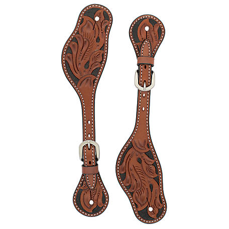 Weaver Leather Men's Turquoise Cross Floral Carved Spur Straps