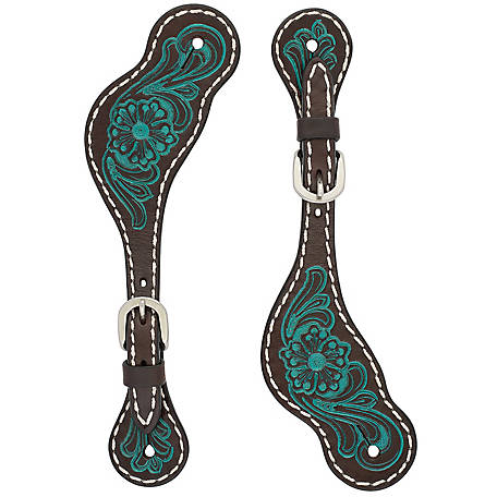 Weaver Leather Women's Turquoise Cross Carved Turquoise Flower Spur Straps