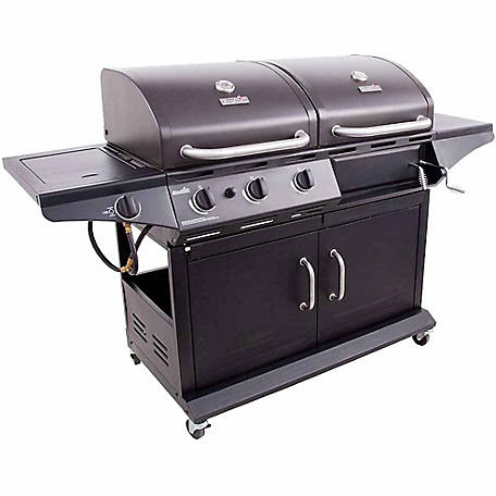 Char-Broil 2-in-1 Charcoal and 3-Burner 36,000 BTU Gas Deluxe Combo Grill with Side Burner