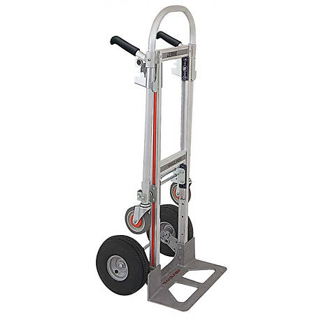 Magliner Gemini Jr. Convertible Hand Truck, 10 in. 4-Ply Pneumatic Wheels, 500 lb./1000 lb. Capacity.